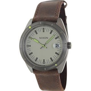 Nixon Men's Rover A3551388 Brown Leather Quartz Watch with Grey Dial