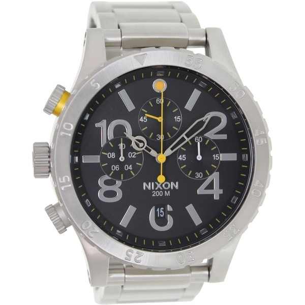 Nixon Men's 48-20 Chrono A486000 Silver Stainless-Steel Quartz Watch with Black Dial