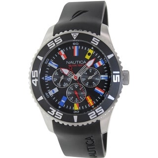 Nautica Men's N12626G Black Polyurethane Quartz Watch with Black Dial