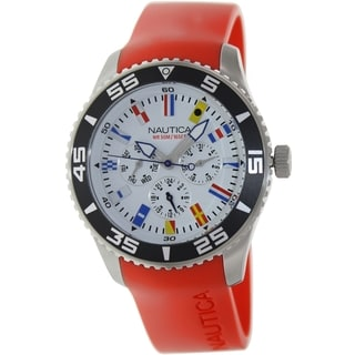 Nautica Men's N12628G Red Polyurethane Quartz Watch with White Dial