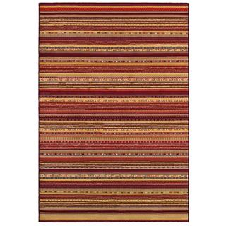 Cadence Adiago/ Ruby-Cream Power-loomed Area Rug (3'11 x 5'6)