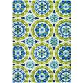 Covington Astral/ Azure-Lemon Hand-hooked Area Rug (3'6 x 5'6)