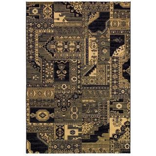Cadence Moonlight Sonata/ Cream-Navy Power-loomed Area Rug (7'10 x 10'9)