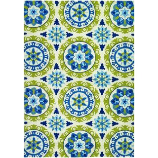 Covington Astral/ Azure-Lemon Hand-hooked Area Rug (8' x 11')