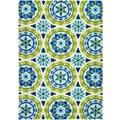 Covington Astral/ Azure-Lemon Hand-hooked Area Rug (5'6 x 8')