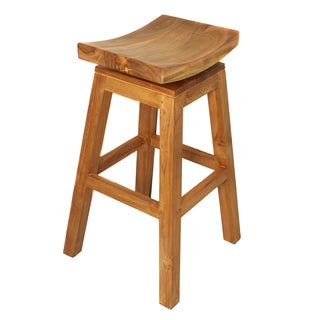 Casa Cortes Solid Teak Wood 30-inch Swivel Bar Stool