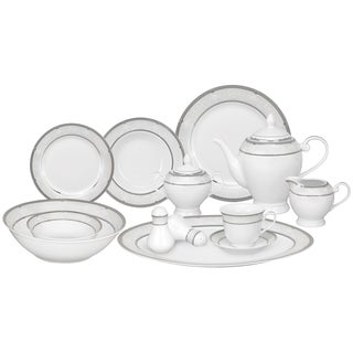 Lorren Home Trends 57-piece Porcelain Dinnerware Set with Silver Accent