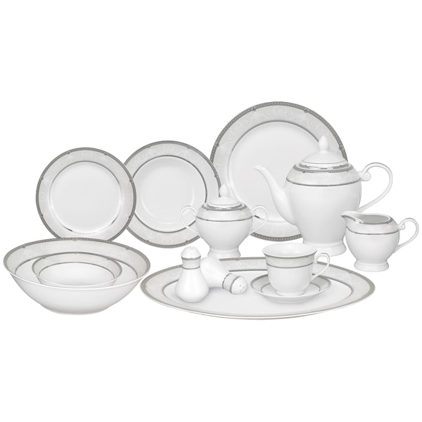 Lorren Home Trends 57-piece Porcelain Dinnerware Set with Silver Accent 11842498