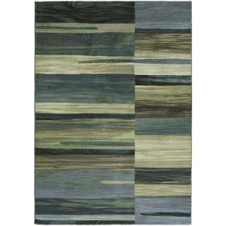 Easton Synchrony/ Tan-Teal Power-loomed Area Rug (5'3 X 7'6)