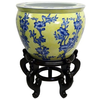 Blue and Yellow Floral Porcelain Fishbowl Planter with Stand