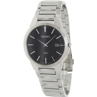 Seiko Men's SKP297 Silver Stainless-Steel Quartz Watch with Black Dial