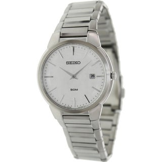 Seiko Men's SKP295 Silver Stainless-Steel Quartz Watch with Silver Dial