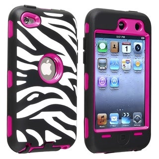 BasAcc Hot Pink Hard/ Zebra Skin Hybrid Case for Apple� iPod touch 4