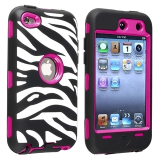 INSTEN Hot Pink Hard Plastic/ Zebra Skin Hybrid iPod Case Cover for Apple iPod touch 4
