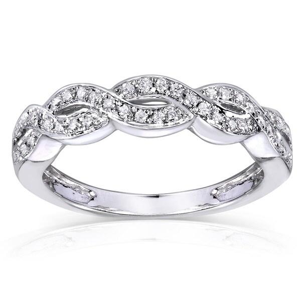 Annello 14k Gold 1/8ct TDW Diamond Braided Wedding Band (H-I, I1-I2)