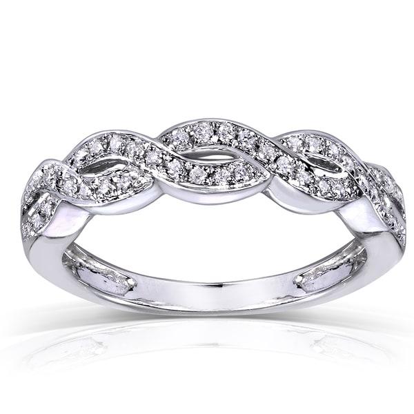 Annello 14k Gold 1 8ct TDW Diamond Braided Wedding Band H I I1 I2 Overst