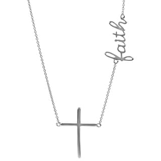 Journee Collection Sterling Silver Faith Cross Necklace