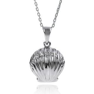 Journee Collection Sterling Silver Cubic Zirconia Shell Necklace