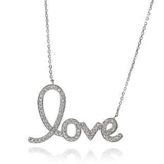 Tressa Collection Sterling Silver Cubic Zirconia Love Necklace