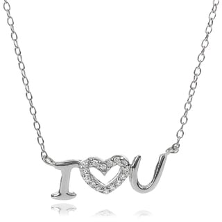 Tressa Collection Sterling Silver Cubic Zirconia I Love You Necklace