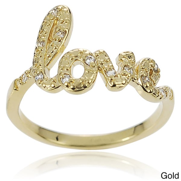 Journee Collection Sterling Silver Cubic Zirconia Love Ring