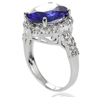 Tressa Collection Sterling Silver Blue Tanzanite and Cubic Zirconia Bridal-style Ring