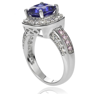 Tressa Collection Sterling Silver Blue Cushion-cut Tanzanite and Cubic Zirconia Bridal-style Ring