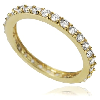 Tressa Collection Gold over Silver Cubic Zirconia Eternity Ring