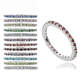 Journee Collection Sterling Silver Birthstone Cubic Zirconia Eternity Band