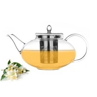 Tea Beyond 42oz/ 1242ml Glass Teapot Harmony with Whole Leaf Jasmine Green Tea (3.5oz/100g)