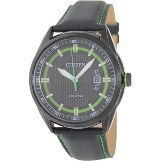 Citizen Men's Eco-Drive AW1184-05E Black Leather Quartz Watch with Black Dial