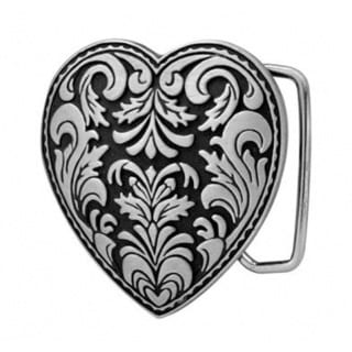 Silvertone Decorative Heart Belt Buckle or Belt