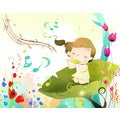 'Girl Enjoying Music' Wall Art Canvas Print