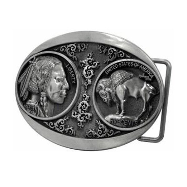 Native American Head and Buffalo Coin Belt Buckle