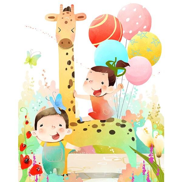 'Two Kids Making Celebration' Canvas Print Wall Art