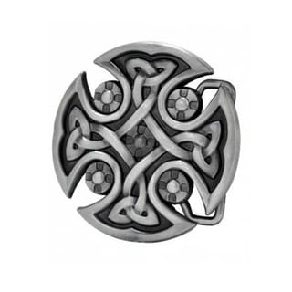 Celtic Cross Brushed Metal Belt Buckle