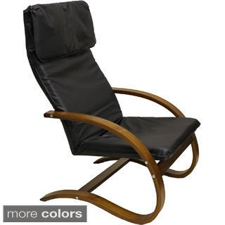 Stockholm Bentwood Faux Leather Lounge Chair