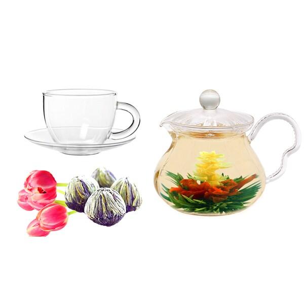 Tea Beyond Fab Flowering Tea Jasmine Fairy Teapot and Cups Set 11843117