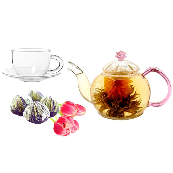 Tea Beyond Fab Flowering Tea Juliet Teapot with Cup Set 11843126