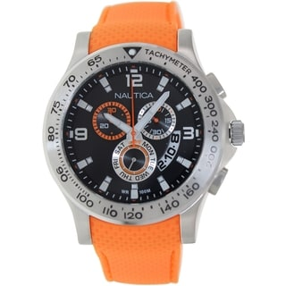 Nautica Men's N19601G Orange Silicone Swiss Quartz Watch with Black Dial