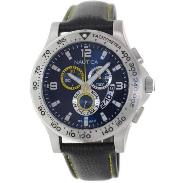 Nautica Men's N19608G Black Leather Quartz Watch with Blue Dial