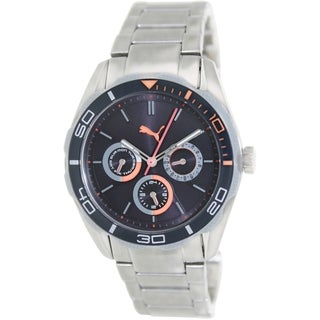 Puma Men's Challenger-S PU103192005 Silver Stainless-Steel Analog Quartz Watch with Black Dial
