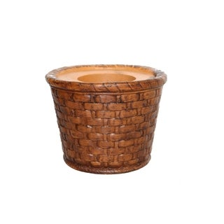Laura Ashley Weave 13-inch BrownFiberstone Planter
