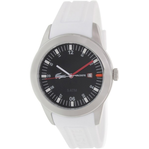 Lacoste Men's Advantage 2010629 White Silicone Analog Quartz Watch with Black Dial