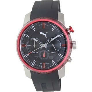 Puma Men's Essence PU103051003 Black Rubber Analog Quartz Watch with Black Dial