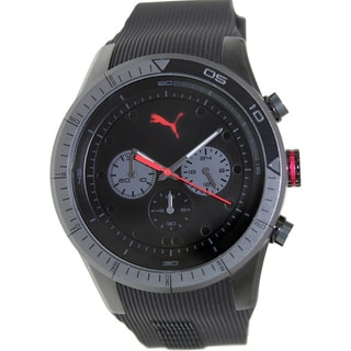 Puma Men's Fast Track PU102821003 Black Rubber Analog Quartz Watch with Black Dial