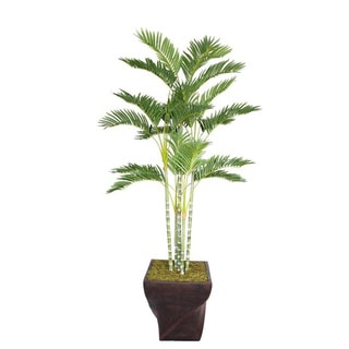 "Laura Ashley 78"" Tall Palm Tree in 17"" Fiberstone Planter"