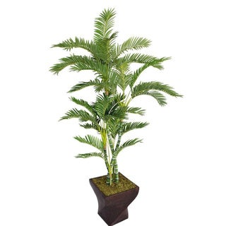 "Laura Ashley 82"" Tall Palm Tree in 17"" Fiberstone Planter"