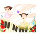 'Girls Doing Ballet Dance' Canvas Print Wall Art