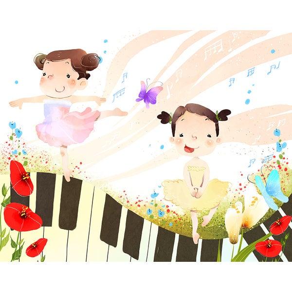 'Girls Doing Ballet Dance' Canvas Print Wall Art